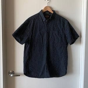 Navy Short Sleeve Top with Dotted Patterns